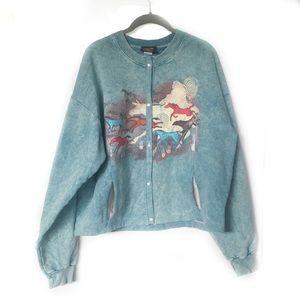 Stoneaged Rockwear Vintage L Snap Sweatshirt Blue